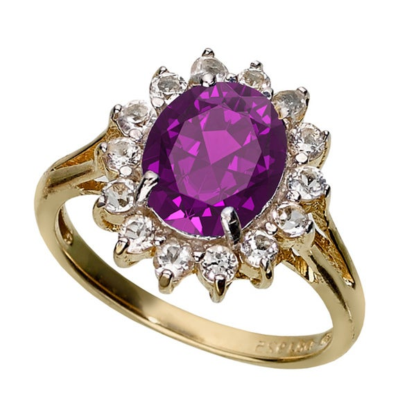 Dolce Giavonna Gold Over Silver Amethyst and White Topaz Ring