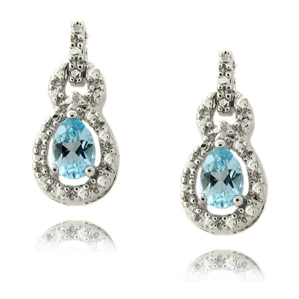 Dolce Giavonna Silver Blue Topaz and Diamond Accent Earrings