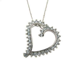 Dolce Giavonna Silver Blue Topaz Heart Necklace