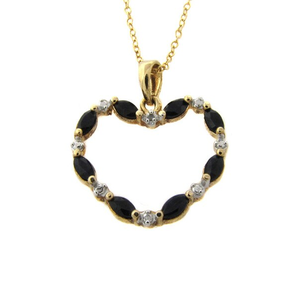 Dolce Giavonna Gold Overlay Sapphire and Diamond Accent Necklace