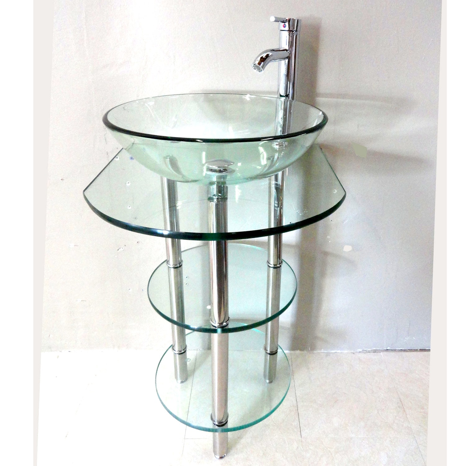 Bathroom Vanity Pedestal: Shop Clear Tempered Glass Pedestal Vanity And Sink Combo