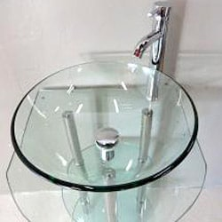Clear Tempered Glass Pedestal Vanity and Sink Combo - Thumbnail 1