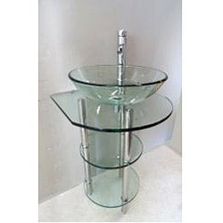 Clear Tempered Glass Pedestal Vanity and Sink Combo - Thumbnail 2