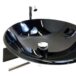 Bathroom Tempered Glass Vessel Sink and Vanity Faucet - Thumbnail 1