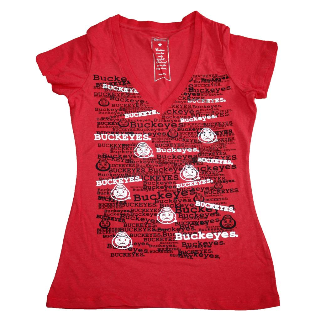 Campus Couture Women's Ohio State Buckeyes Rylan V-neck T-shirt