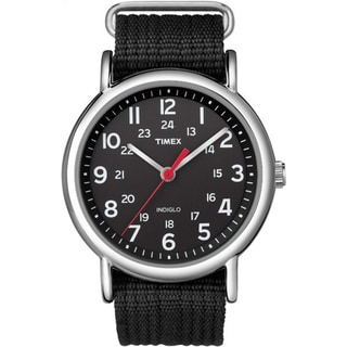 Timex Men's T2N6479J Weekender Black Slip-thru Nylon Strap Watch