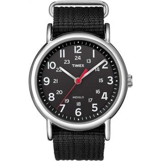 Timex Men's T2N6479J Weekender Black Slip-thru Nylon Strap Watch