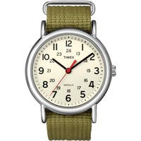 Timex Men's  Weekender Olive Slip-through Strap Watch - WHITE