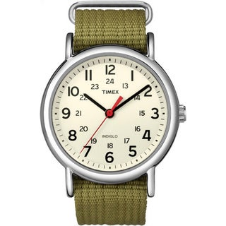 Timex Men's T2N6519J Weekender Olive Slip-through Strap Watch - WHITE