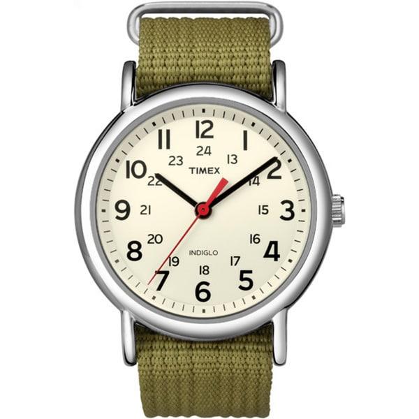 Timex Men's T2N6519J Weekender Olive Slip-through Strap Watch