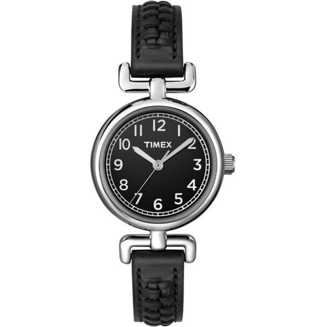 Timex T2N660KW Women's Weekender Petite Casual Black Leather Strap Watch