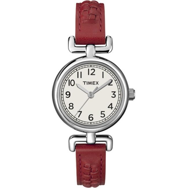Timex Women's T2N6619J Petite Casual Red Woven Strap Watch - Thumbnail 1