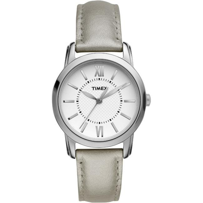 Timex T2N6839J Women's 'Style Chic' Silver Leather Strap Watch - Thumbnail 2