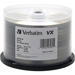 Verbatim DVD-R 4.7GB 16X VX Shiny Silver Silk Screen Printable - 50pk