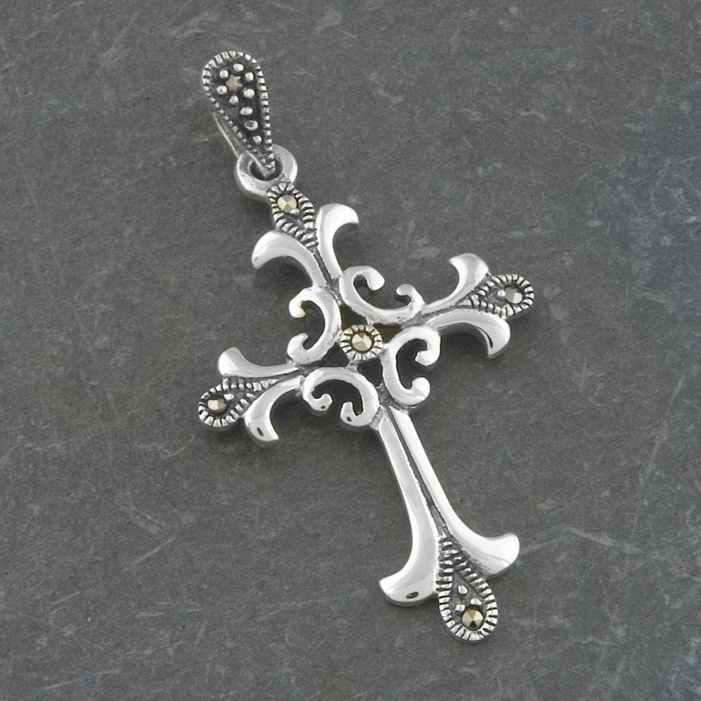 Sterling Silver 'Cross' Marcasite Pendant (Thailand)