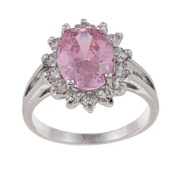 La Preciosa Sterling Silver Pink-and-clear Oval-cut Cubic Zirconia Ring