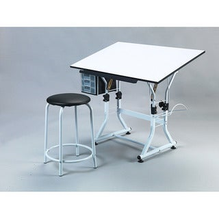 Martin UniversaleDesign Ashley Creative White Drafting and Hobby Craft Table Set