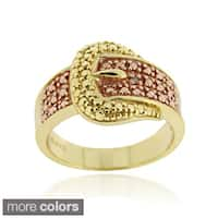 DB Designs Gold over Silver Champagne Diamond Accent Buckle Ring