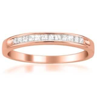 Montebello 14k Gold 1/ 4ct TDW Princess Diamond Wedding Band (I-J, I1-I2) (Option: Rose Gold)|https://ak1.ostkcdn.com/images/products/6098994/P13767111.jpg?impolicy=medium