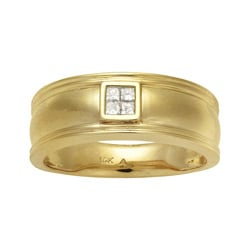 Montebello 14k Yellow Gold Men's 1/6ct TDW Diamond Wedding Band (H-I, I1-I2)