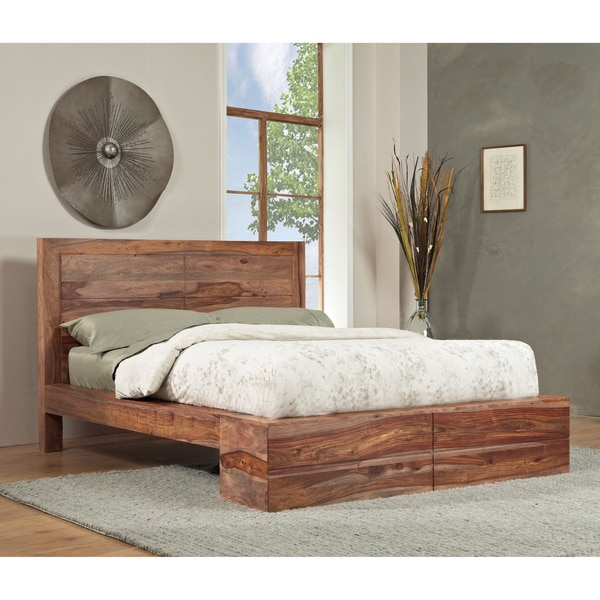 Shop Sheesham Solid Wood Full Size Panel Bed Free