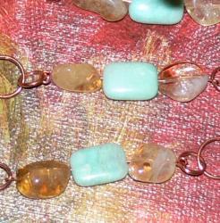 Susen Foster Copper Sands of Peru Peruvian Blue Opal/ Citrine Necklace - Thumbnail 1