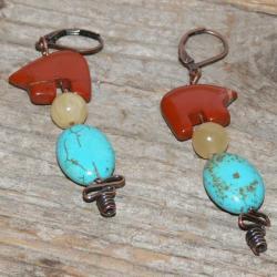 Susen Foster Bronze Bearly Jasper/ Jade/ Turquoise Earrings