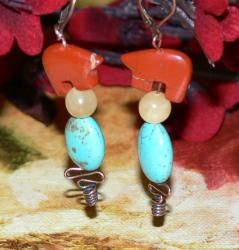 Susen Foster Bronze Bearly Jasper/ Jade/ Turquoise Earrings