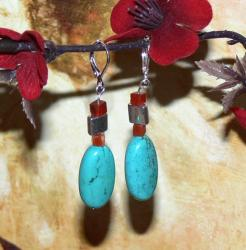 Susen Foster Silverplated Joy Turquoise and Carnelian Earrings