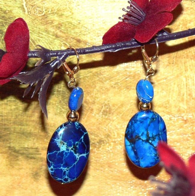 Susen Foster Goldplated Deep Blue Dawn Variscite Earrings