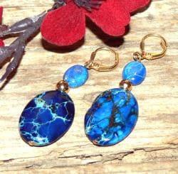 Susen Foster Goldplated Deep Blue Dawn Variscite Earrings - Thumbnail 1