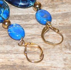 Susen Foster Goldplated Deep Blue Dawn Variscite Earrings - Thumbnail 2