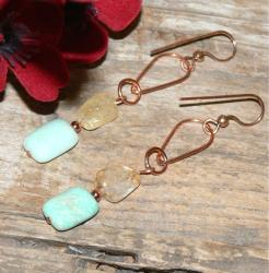 Susen Foster Copper Sands of Peru Opal and Citrine Earrings
