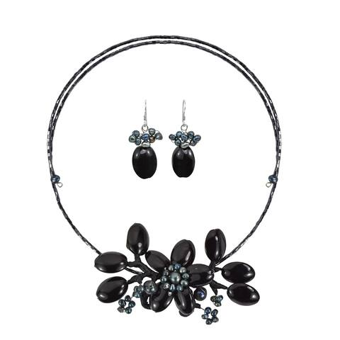 Handmade Black Onyx-Pearl Flower Choker-Earrings Jewelry Set (Thailand)