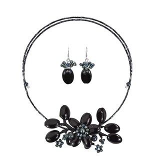 Handmade Black Onyx-Pearl Flower Choker-Earrings Jewelry Set (Thailand)