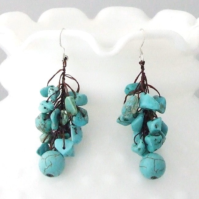 Handmade Cotton Rope and Silver Turquoise Dangle Cluster Earrings (Thailand)