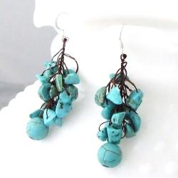 Handmade Cotton Rope and Silver Turquoise Dangle Cluster Earrings (Thailand) - Thumbnail 1