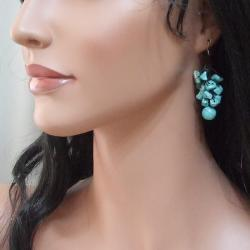 Handmade Cotton Rope and Silver Turquoise Dangle Cluster Earrings (Thailand) - Thumbnail 2
