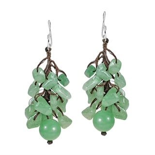 Cotton Rope and Silver Aventurine Cluster Ball Earrings (Thailand)