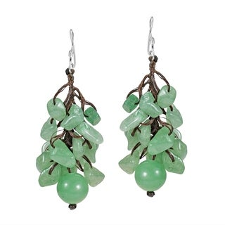 Handmade Dangle Cluster Ball Aventurine .925 Silver Earrings (Thailand)