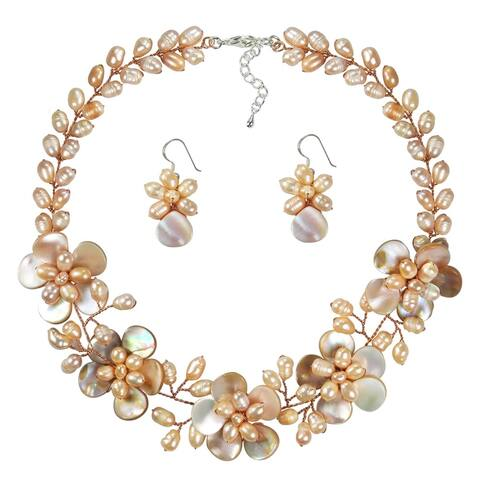 Handmade Pink Pearl and Mother of Pearl Floral Jewelry Set (Thailand)