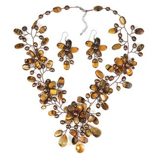 Handmade Tiger's Eye and Pearl Brown and Bronze Jewelry Set (3-7 mm) (Thailand)