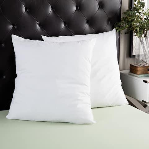 Splendorest Cotton 26-inch Euro Square Sham Stuffer Pillows (Set of 2) - White