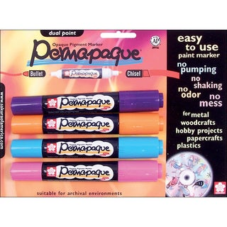 Permapaque Fade-Resistant Dual-Point Multicolor Carded Paint Markers (Set of Four)