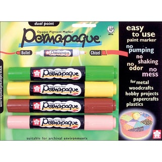 Permapaque Dual-point Multicolor Carded Paint Markers (Pack of 4)