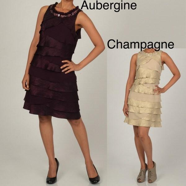 S.L. Fashions Women's Asymetrical Shutter Pleat Dress