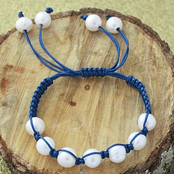 Blue Macrame Cord Hand-knotted White FW Pearl Bracelet (12 mm) (USA)