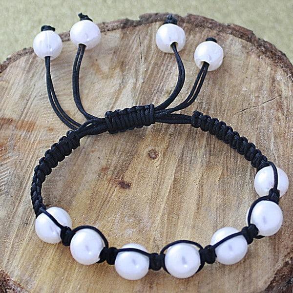 Brown Macrame Cord White Freshwater Pearl Bracelet (12 mm) (USA)