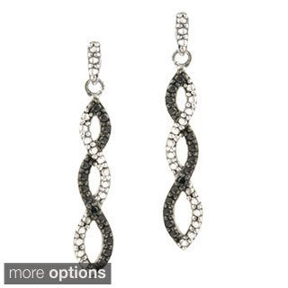 DB Designs Sterling Silver Black Diamond Accent Infinity Dangle Earrings