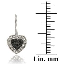 DB Designs Sterling Silver Black Diamond Accent Heart Dangle Earrings - Thumbnail 2